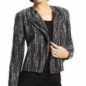 CABI 529 Tweed Blazer Moto Jacket Wool Blend 4 Zip